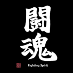 Buy Japanese Kanji T-Shirt, Fighting Spirit, white text and stamp